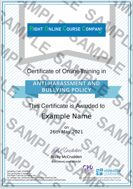 Anti Harassment The Right Online Course Company Certificate