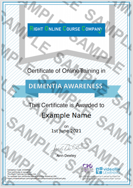 Dementia Training Online Sample Certificate