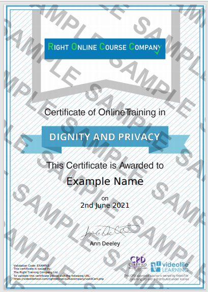 Dignity and Privacy Certificate CPD Approved