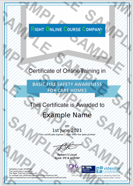 Fire Safety Care Homes Sample Certificate