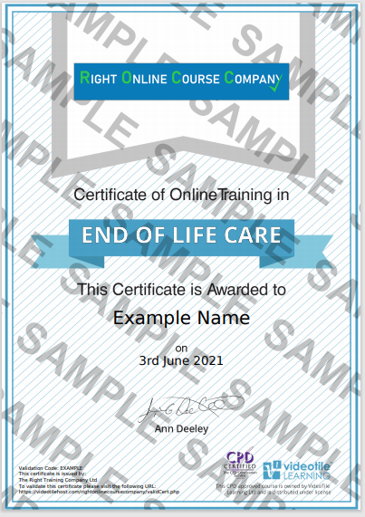 End of Life Care Sample Certificate